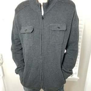 Gray Full Zip Double Breast Pocket Sweater